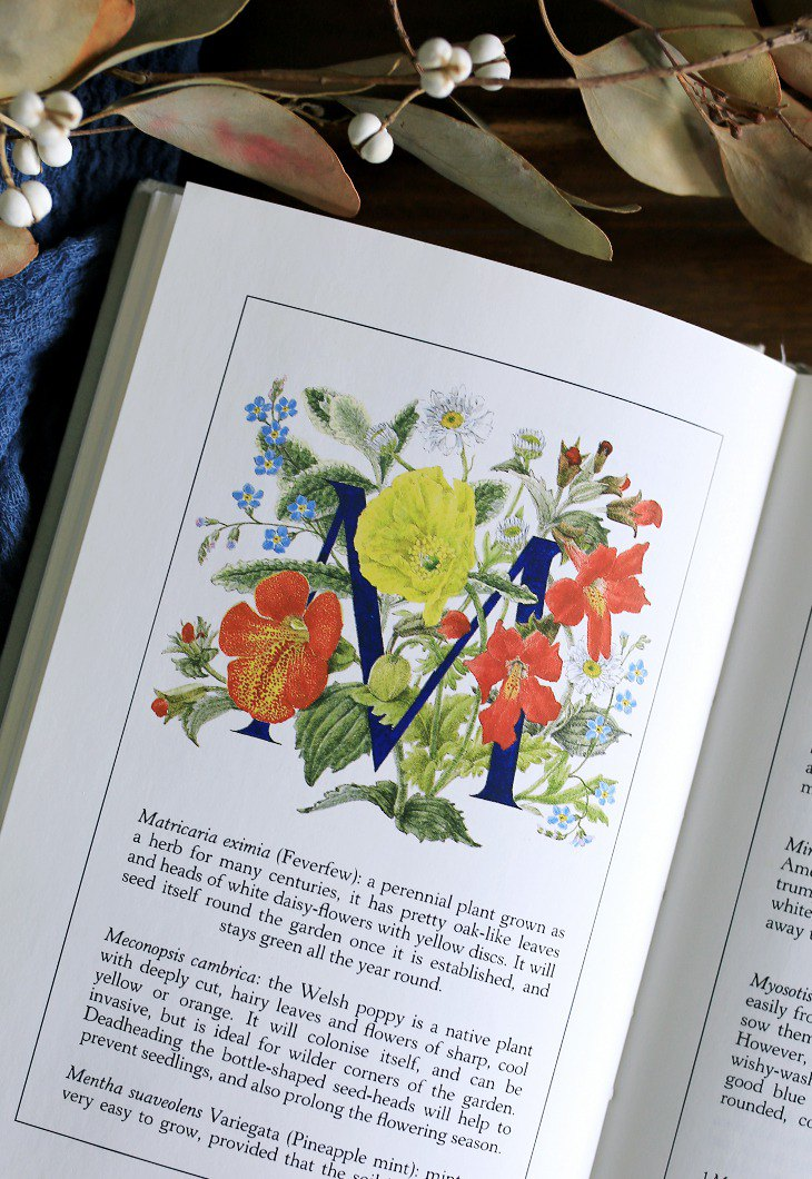 Spot // UK 1987s [Text Garden] Floral Illustration Vintage Old Book