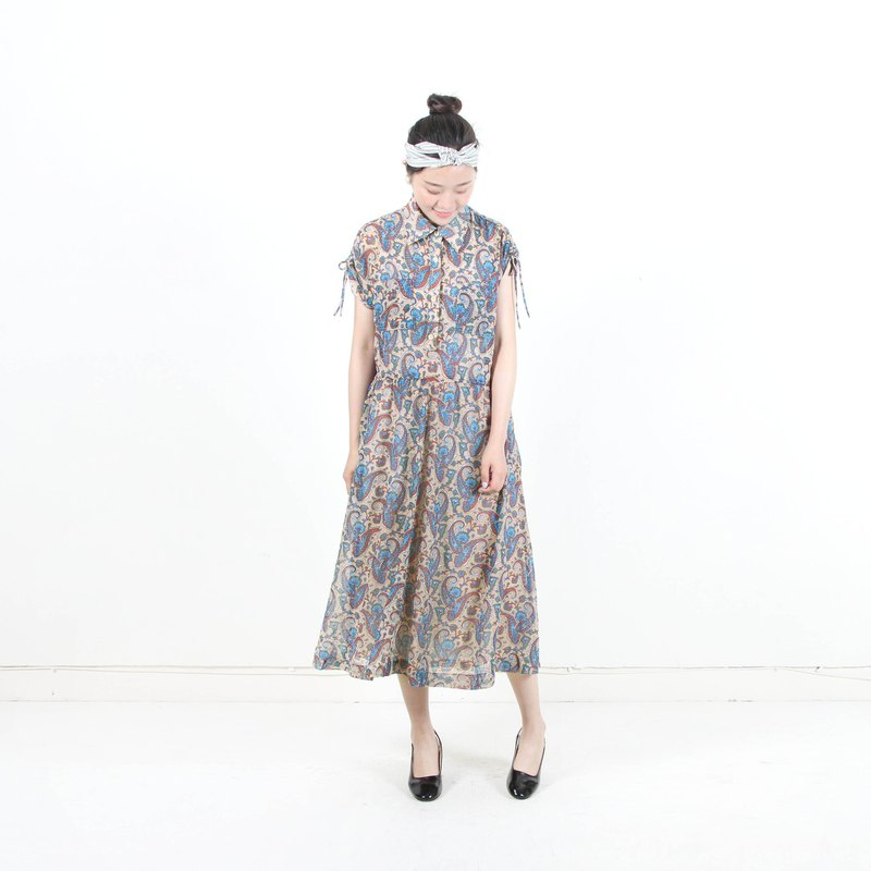 [Egg Plant Vintage] Amoeba Dream Dream Print Short Sleeve Vintage Dress