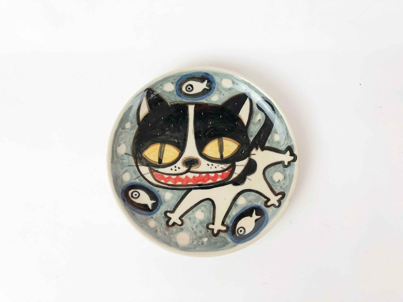Nice Little Clay handmade platter happy cat 0303-09
