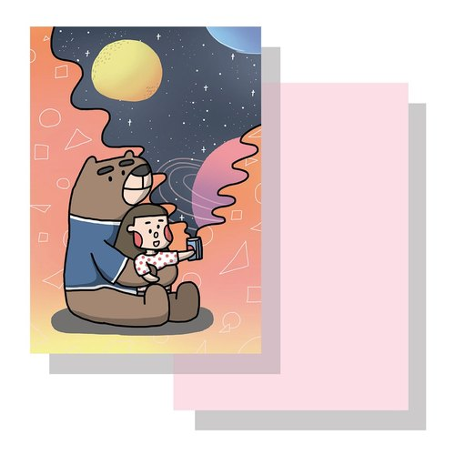 Bear astronomical postcard