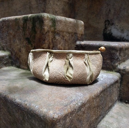 ECOCOLOUR natural dyed plants dyed rush grass fried wood bag
