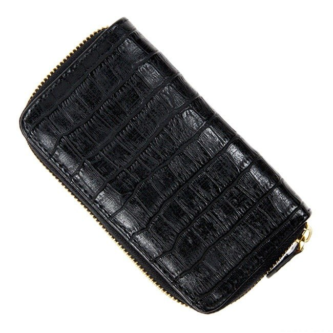 ARTEX accessory makeup pen bag crocodile embossed black