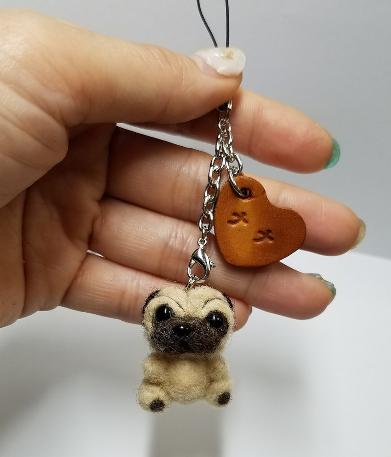 Wool felt pug strap, handmade leather charm, with name