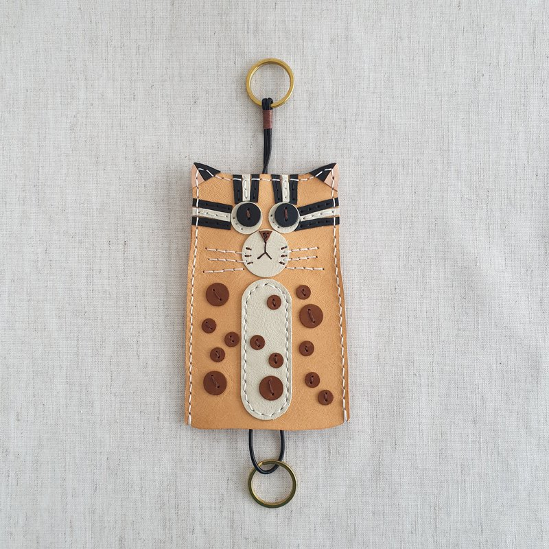 . LIN leather. Handmade leather stone tiger leather key ring