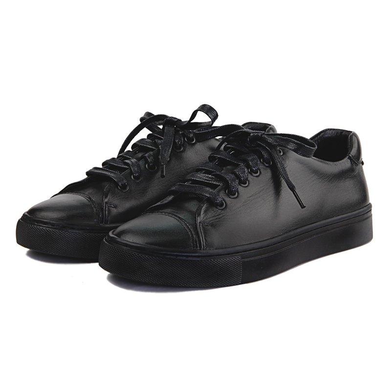 Sweet Villians W1072 手工真皮素面男女休閒運動鞋 黑色