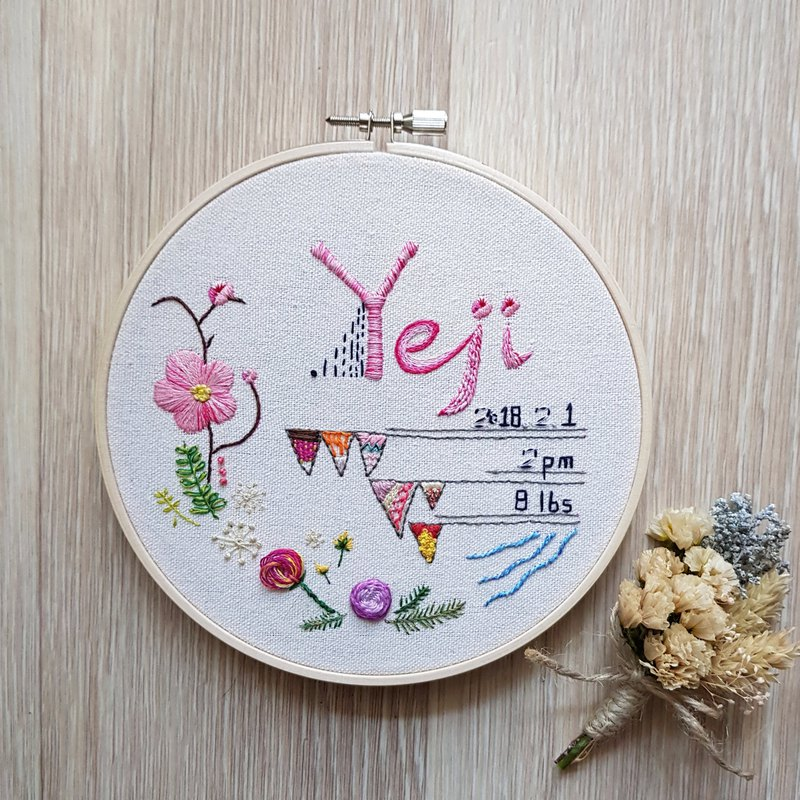 Birth Announcement Embroidery Frame/Customized Handmade/Made in Korea