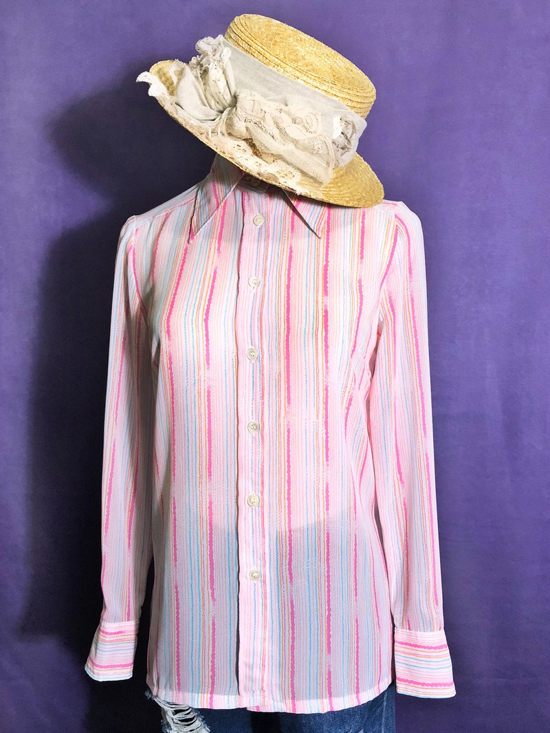 Striped chiffon long sleeve vintage shirt / brought back to VINTAGE abroad