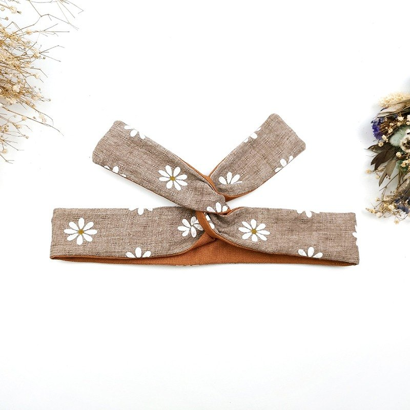 Calf Village Calf Village handmade hair accessories aluminum hairband with multiple headband fresh temperament Wen Qing cotton {autumn white} brown tangerine / olive green 【A-237】