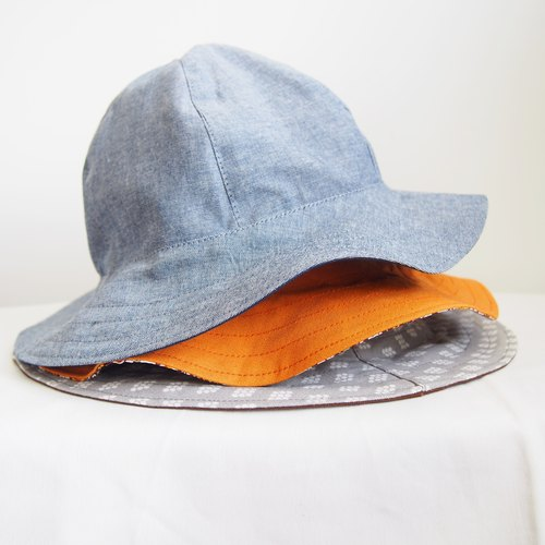 Gray x blue handmade double-sided visor hat fisherman hat