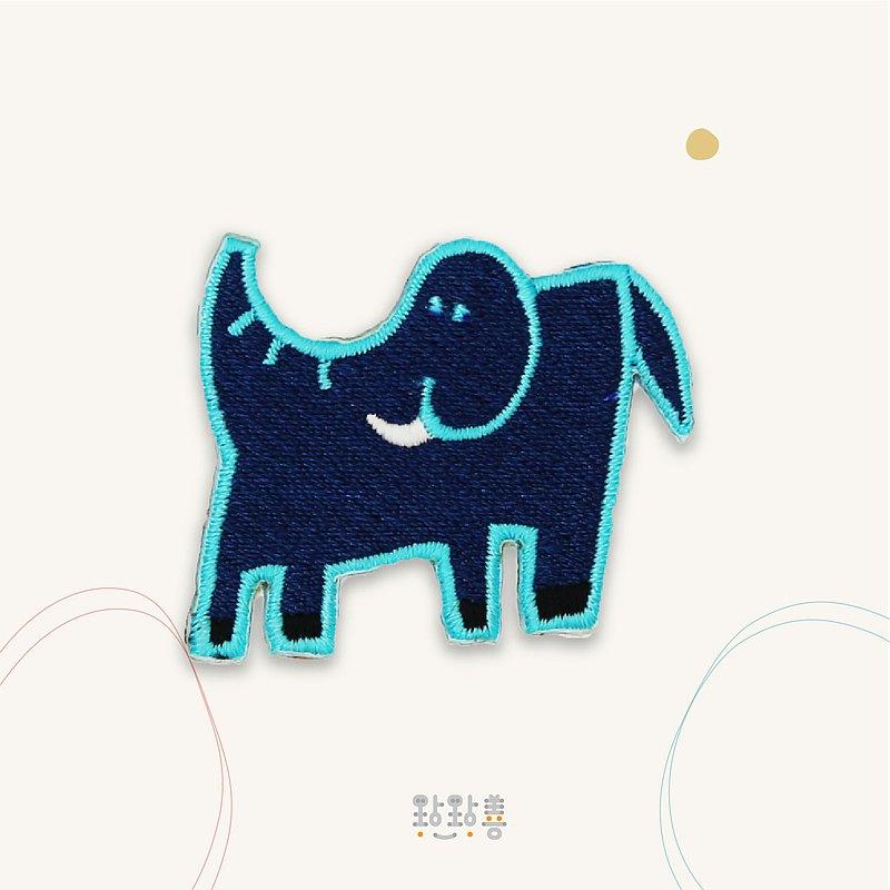 童趣刺繡貼-藍藍象