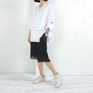 Gao fruit / GAOGUO original designer brand women's summer models big break sleeve white cotton shirt jacket silhouette