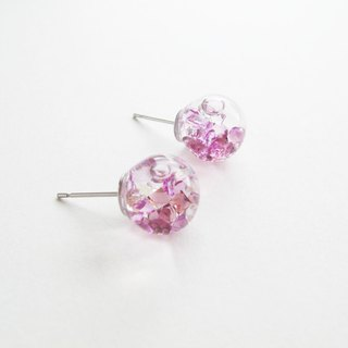 *Rosy Garden*Purple crystal water inside glass ball stud earrings