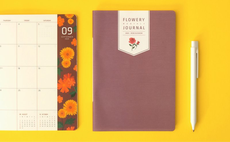 2020 FLOWERY MONTHLY JOURNAL Monthly Plan Calendar - Rose