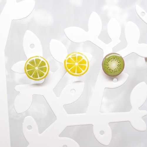 Fox Garden Handmade Lemon. Lyme. Kiwi Earrings / Ear Pins / Ear Studs / Ear Clips Christmas Gift Exchange Gifts**Ship with Clear Ear Clip if Not Specified**