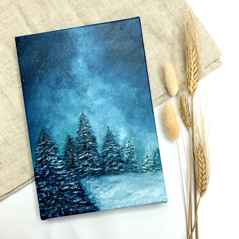 Hand drawn Christmas tree oil painting frameless painting-Tranquil Christmas