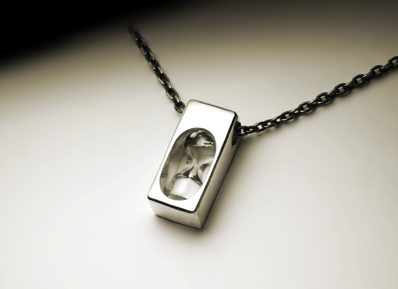 Small cube white hourglass silver necklace