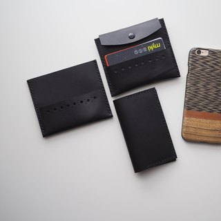 Leather Card Holder: The Ringwood Leather Card Holder - A set of L026+L028 - cow leather, card holder, leather case, hand sewn, slim case, black, gift, personalised, unisex, card wallet, cow leather, 黑色,牛皮,卡包,錢包,卡套,禮物,訂製,情侶裝,手工縫製,中性