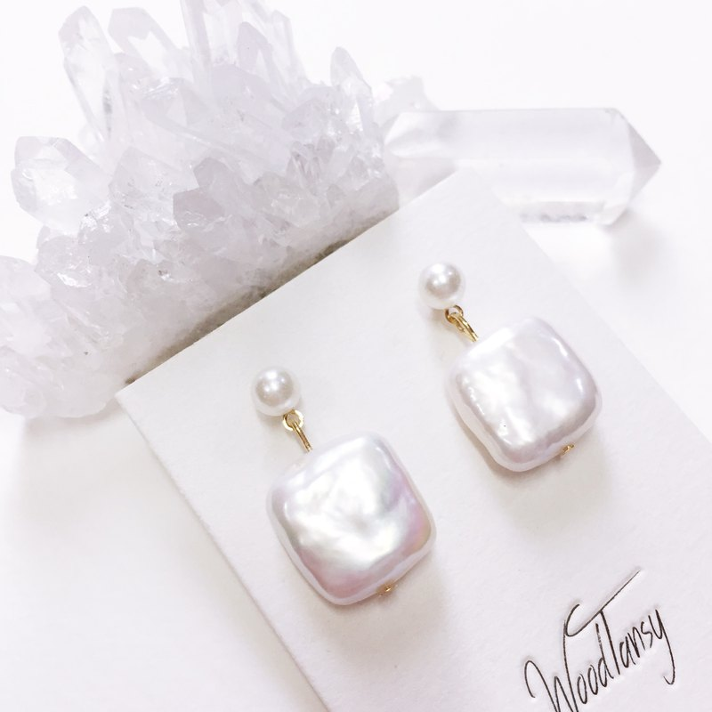 Natural pearl square Non allergic earrings