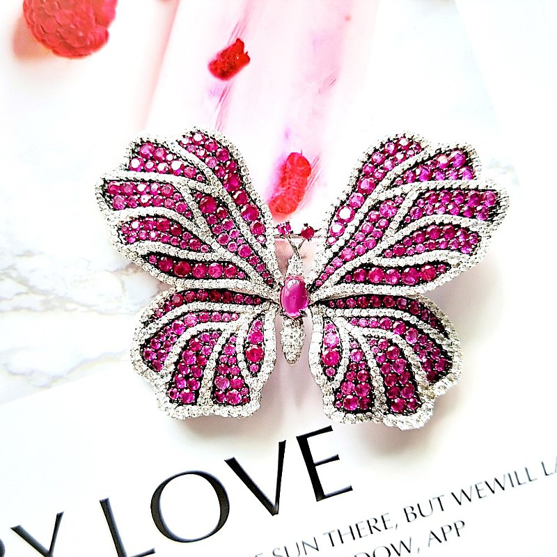 I JEWELRY top bright and elegant purple butterfly full diamond zircon pin brooch sterling silver guarantee card
