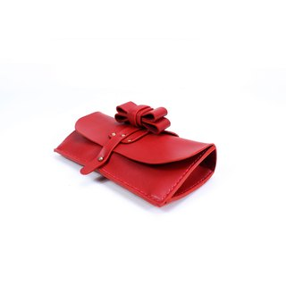 Zemoneni tokyo red collection leather lady purse with metal strap