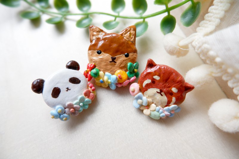 [Animal garland series] cute animal flower brooch custom-made