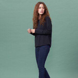Organic cotton blouse black round neck long sleeve / hem arc (woman / woman)