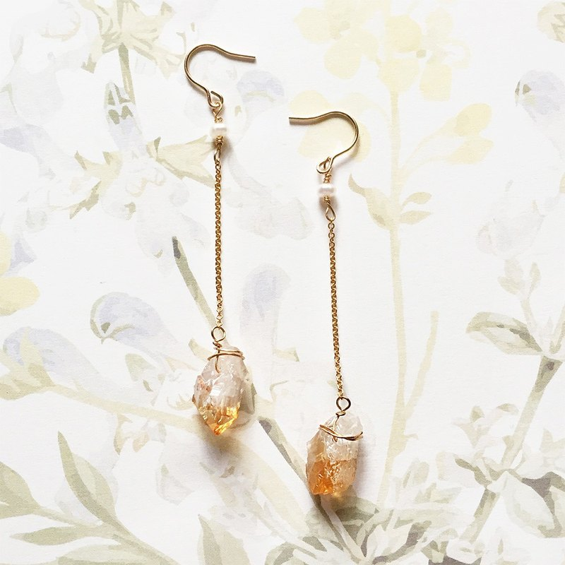 Valentine's Day present, Natural yellow crystal earrings, 14kgf, Suitable for summer match, PinkoiENcontent
