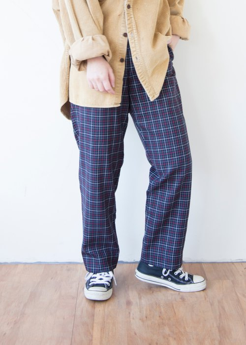 Banana cat. Banana Cats Dark Blue Red Line Plaid Thin Straight Vintage Waist Trousers