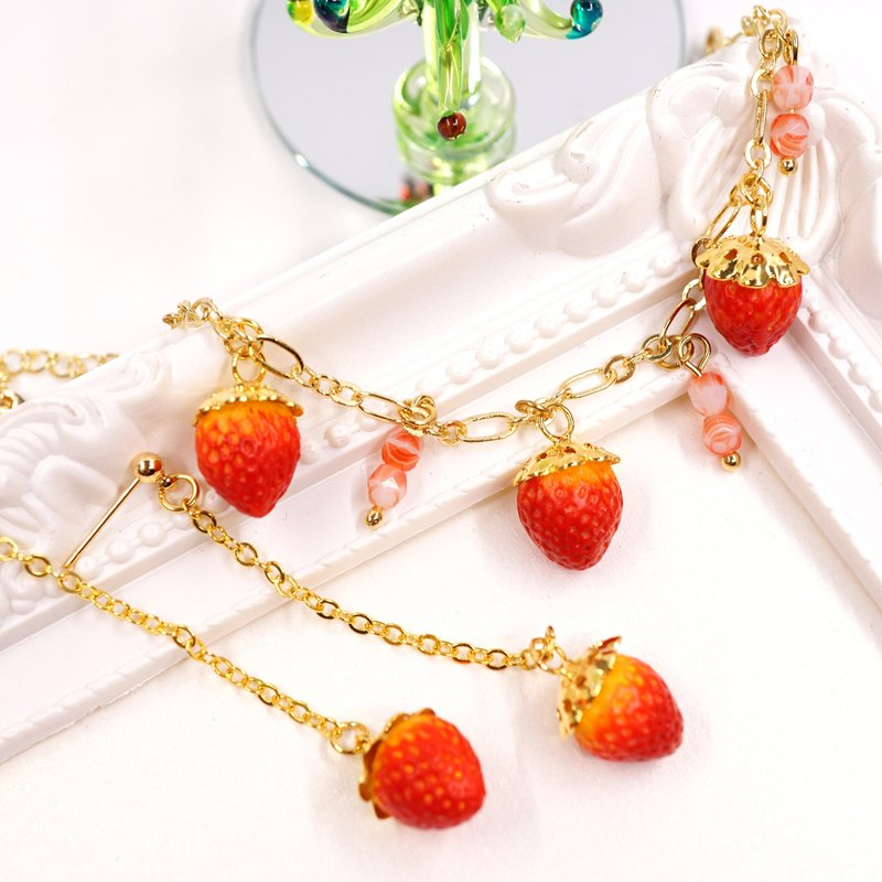 Playful Design Christmas Offer Gift Set Strawberry Bracelet with Earring Set