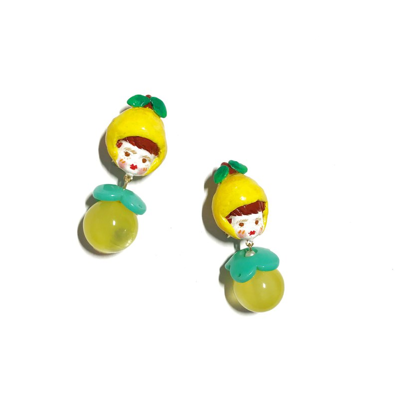 Little lemon cute girl hand made earrings ear clip