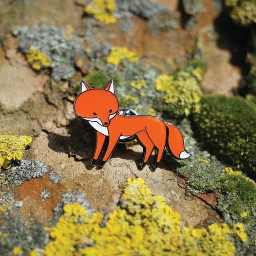 Fox in Socks Enamel Pin