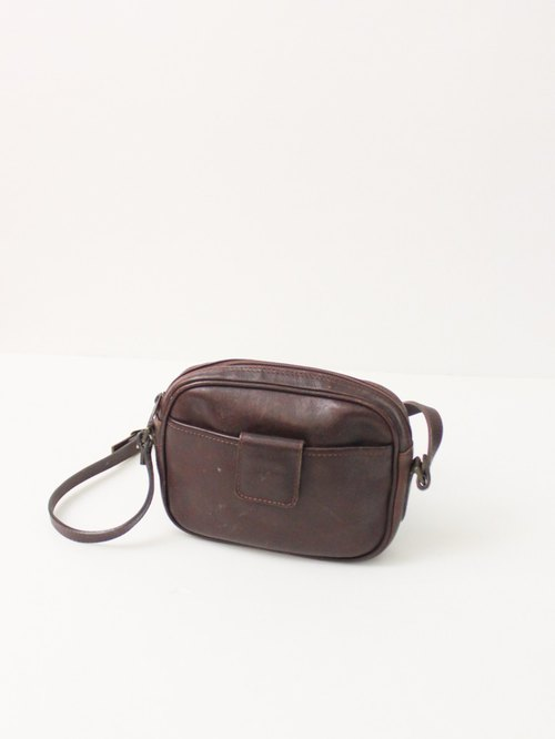 Vintage Leather Brown Light Out Pack Shoulder Bag European Antique Bag European Vintage Bag