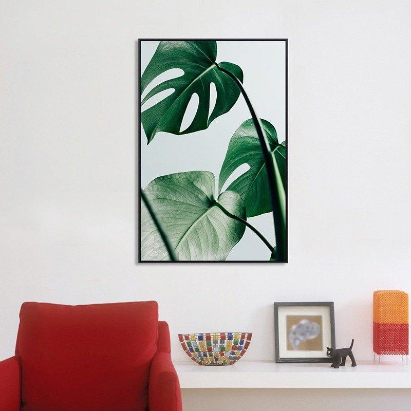 Living room sofa background decoration painting green plant hanging painting green leaf dance