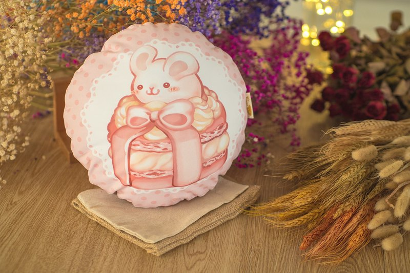 QQ double-sided pillow - macarons rabbit - lychee