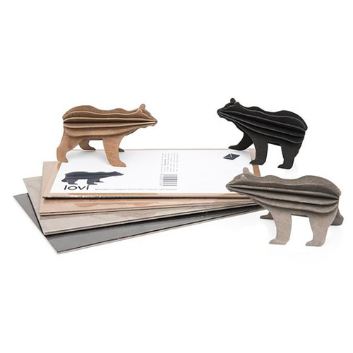 [Finnish]Lovi 3D Puzzle Birch Postcard | Ornaments | Gifts - Black / Brown Bear (13.5cm)