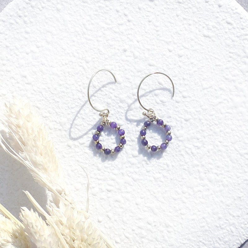 VIIART. Romantic wreath. Purple Dragon Crystal Natural Stone Brass Earrings - Customizable Gifts