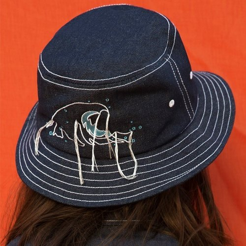 YIZISTORE new sea series embroidery cowboy hat basin cap personalized hat lovers cap - waves