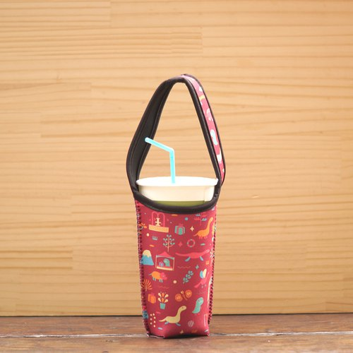 Dinosaur Drink Bag - Dark Red