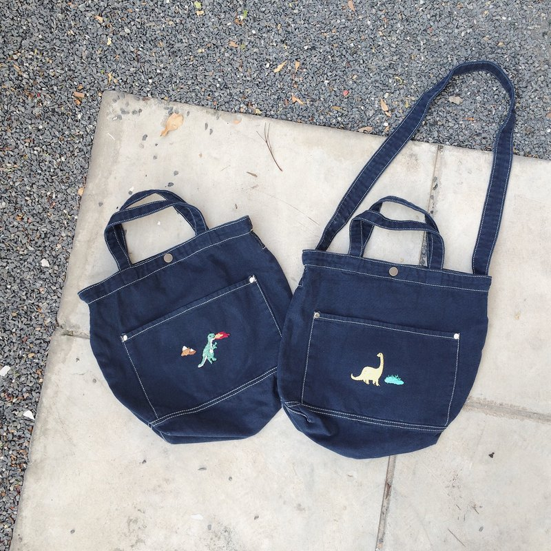 T rex  / Bronto Embroidery - Canvas Crossbody Bag : Dark Blue