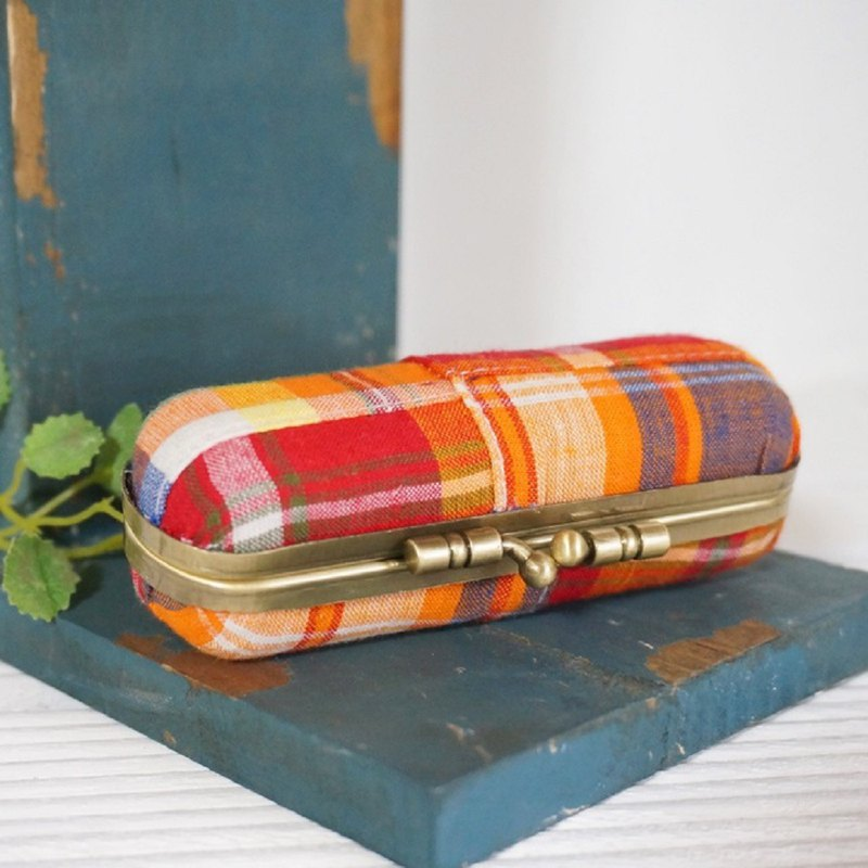 Orange Madras Patchwork Pattern stamp case