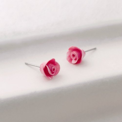 Hand made pink rose earrings