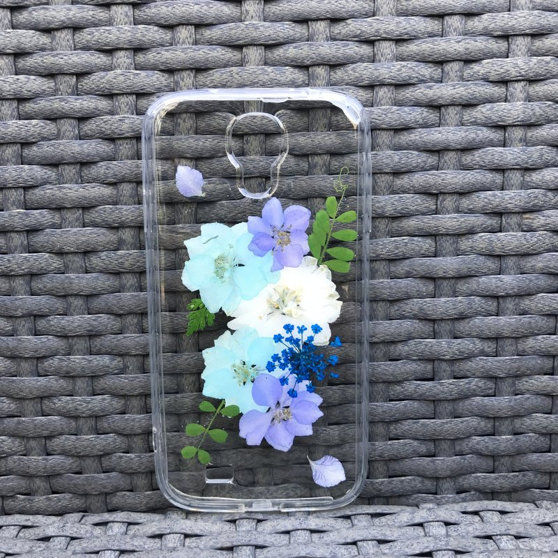 Samsung Galaxy S4 Dry Pressed Flowers Case Blue Flower case 029