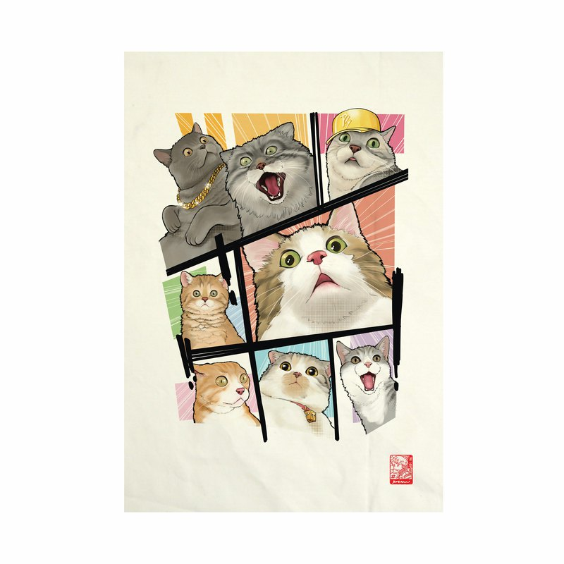 Oh! My cat Fabric Art  Canvas No frame