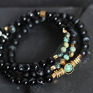 Emperor II. Black agate natural ore three chain rosary spirit quenching chain perseverance heart African turquoise