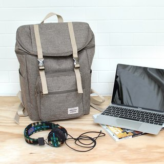 Double buckle large capacity backpack (14 吋 laptop OK) - light coffee _100398