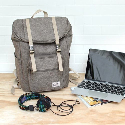 Double buckle large capacity backpack (14 吋 OK OK) - Light coffee _100398