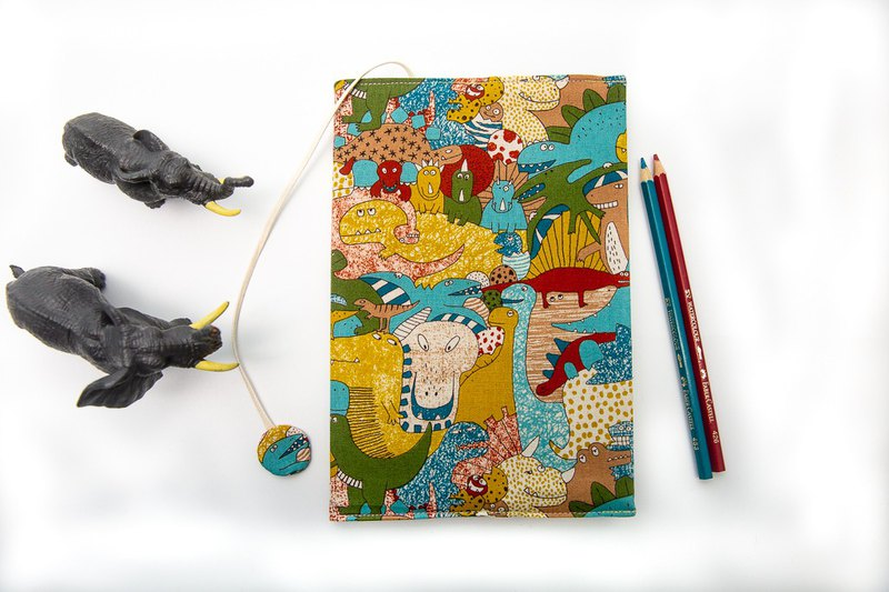 (Dinosaur Park) cloth book cover A5 / book clothing / adjustable book / book cover
