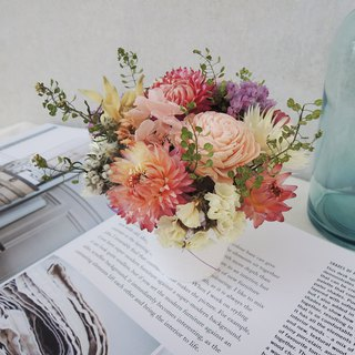 Sweet ‧ ring hand-made sketch series pink girl does not wither pink hydrangea powder wheat straw chrysanthemum stars pearl grass graduation season potted small potted table small things opening ceremony spot