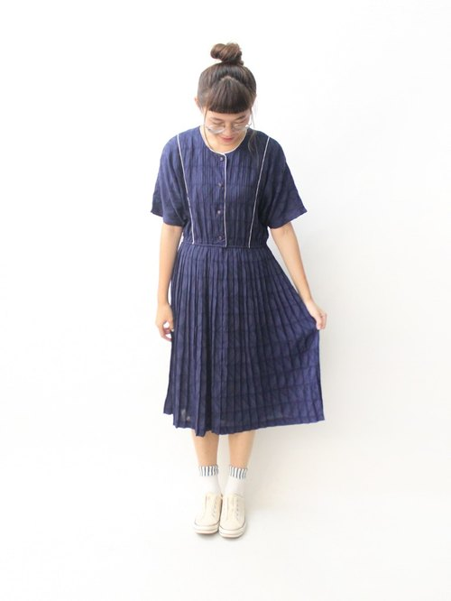 【RE0809D1382】 summer Japanese system retro simple dark blue short-sleeved loose ancient dress