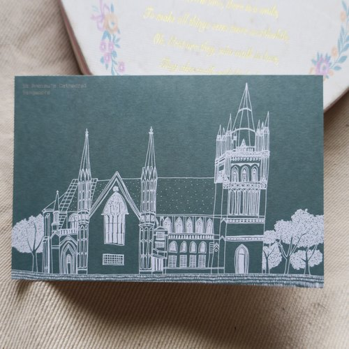 """Travel Landscape"" Singapore - St. Andrews Church / Illustration Postcard"